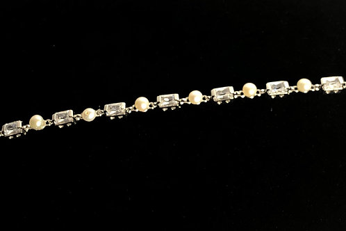 Tennis bracelet with WHITE Freshwater pearls and cubic zircon