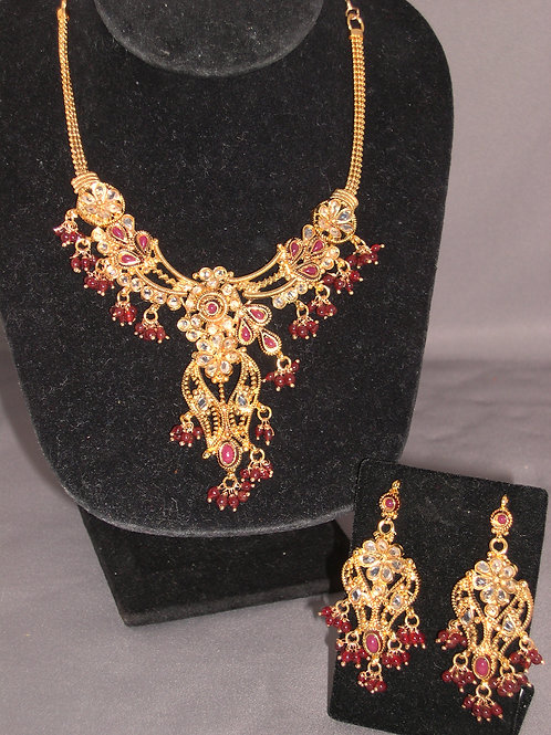 Gold and genuine Indian ruby cleopatra set