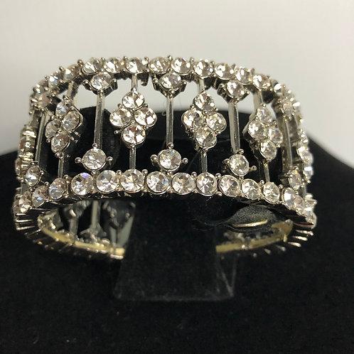 Silver elastic Austrian clear crystal bracelet