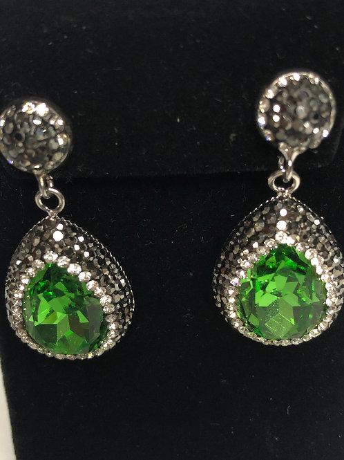 Tear drop Spring Green on Silver crystal Earrings