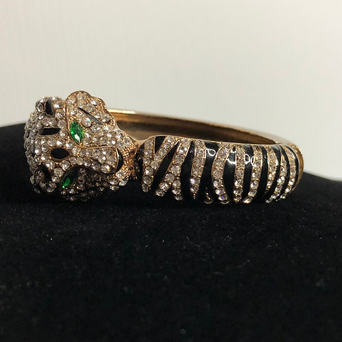 Gold Panther hinged bracelet in Swarovski crystals & green eyes