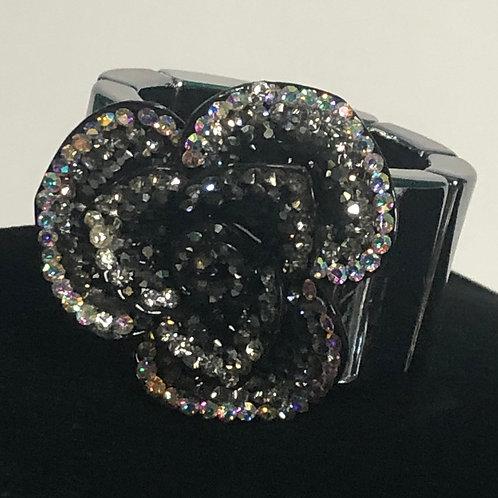 Large black Aurora crystal  elastic bracelet