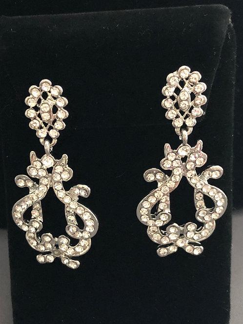 Silver tear drop chandelier pierced earring