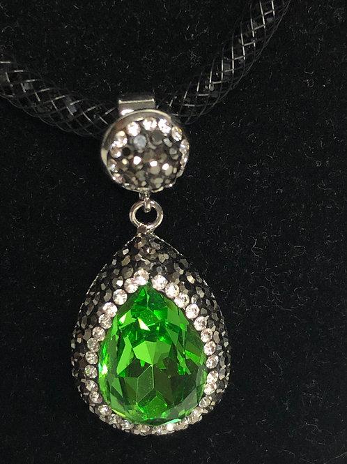 Tear drop SPRING GREEN on Silver crystal Pendant