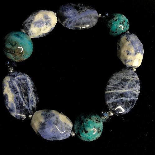 Elastic natural gemstones bracelet