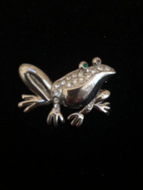 SILVER frog brooch