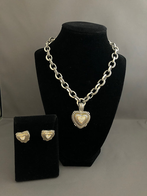 Designer silver detachable heart pendant  with matching earrings