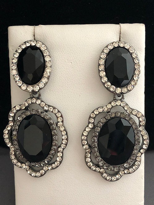 Jet black oval chandelier pierced earring