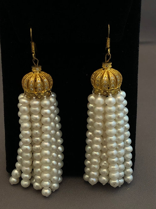 Gold crown white Freshwater Tassel Pearl Earring