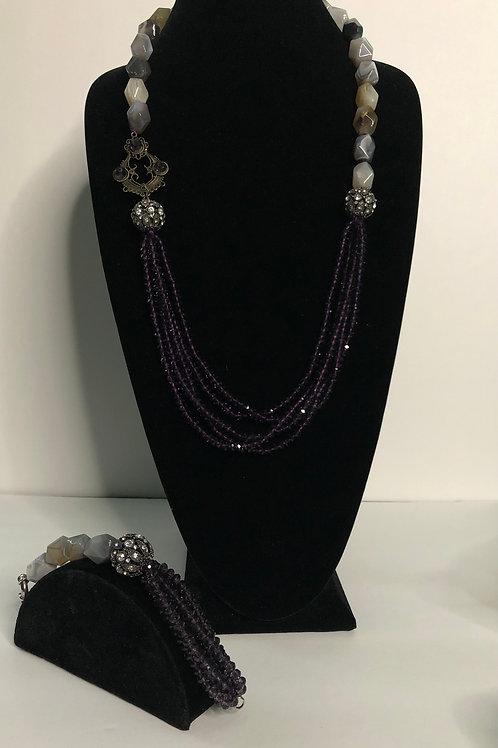 Natural stone multi strand Czech purple necklace/bracelet