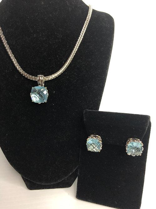 Designer look Sky Blue pendant & Lever Back Earrings