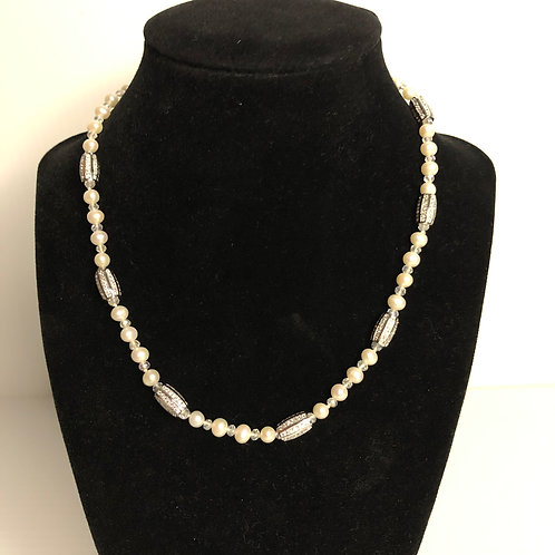 White Freshwater Cultured pearl single strand necklace
