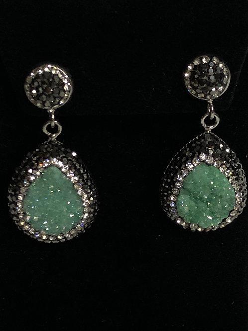 Tear drop Turquoise Druzy on Silver crystal  Earrings