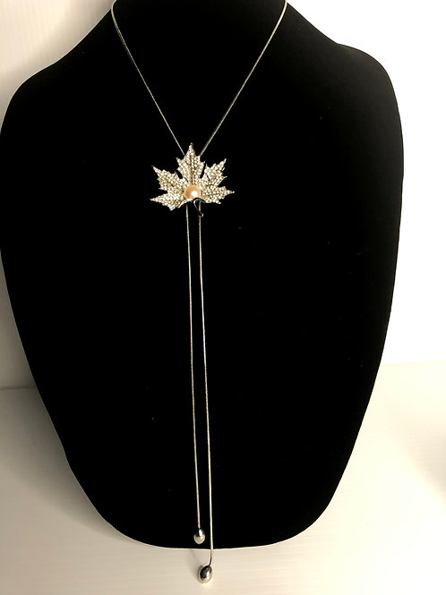 Stainless steel leaf bolero necklace with pink Freshwater pearl