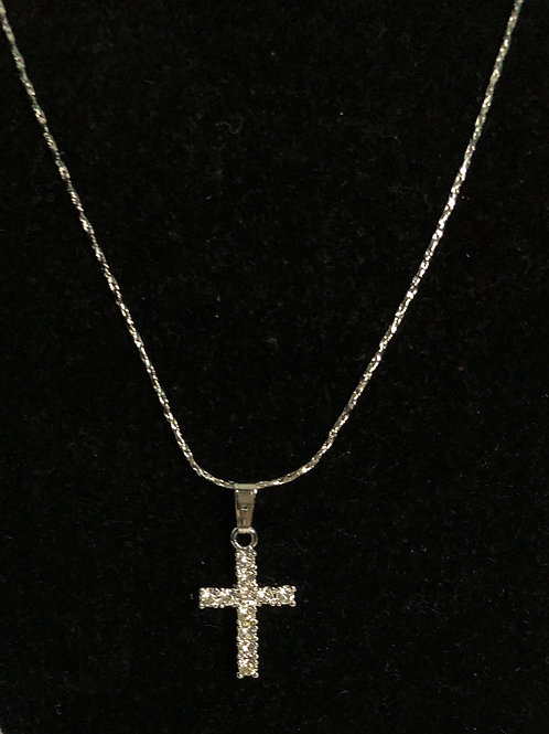 Small clear crystal cross on silver chain