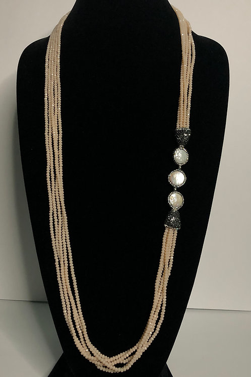 Multi strand beige crystal necklace with white coin pearls