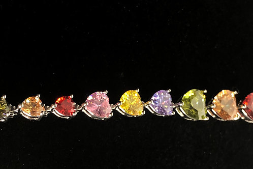 Multi color heart shaped Gemstone zircon sterling silver 925 bracelet