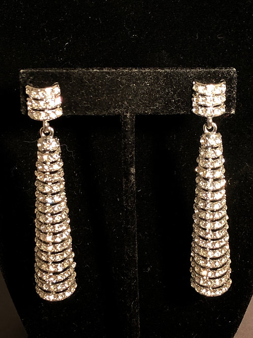Silver clear crystal drop earring