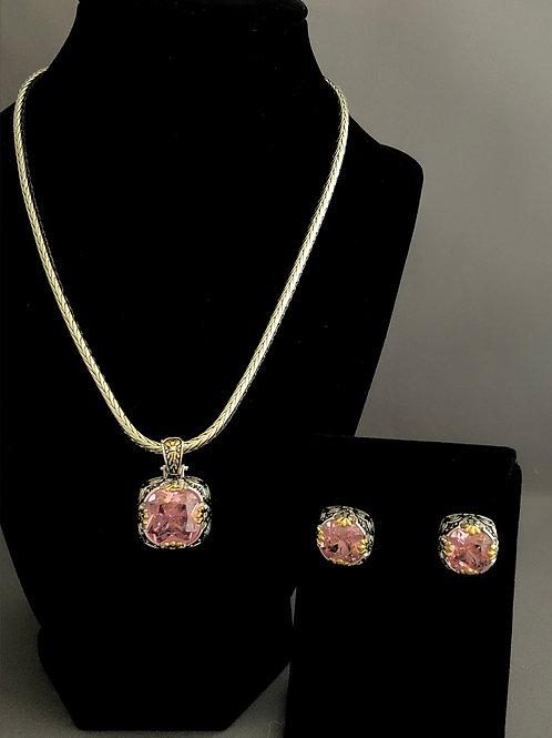 Designer look detachable PINK pendant/earrings