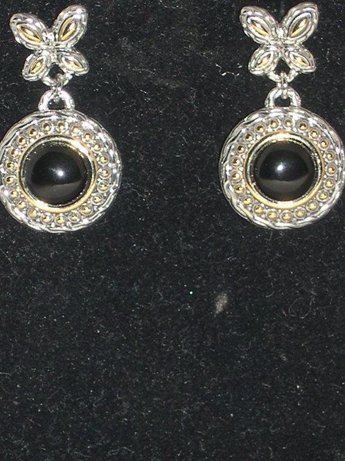 Decorative two tone black onyx pierced earrings