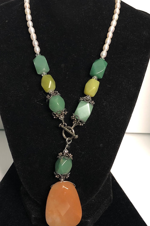 """Natural stones in """"Y"""" drop design with Freshwater pearls"""
