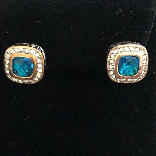 Designer look square Turquoise Blue pierced earrings