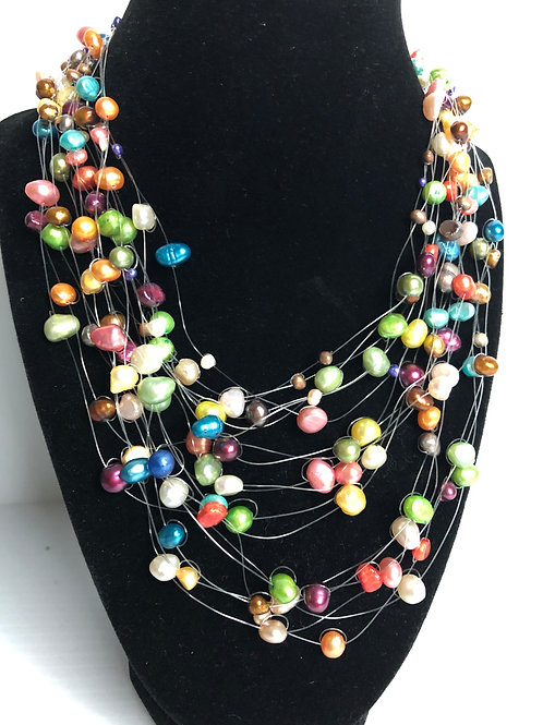 Multi-strand multi color freshwater pearl tin cup necklace