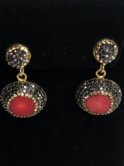 Round Red coral pierced Earrings