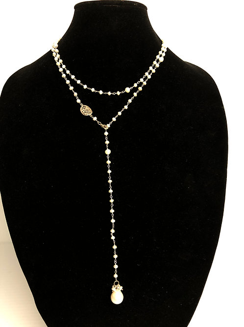 """White Freshwater  pearl """"Y"""" drop necklace set in sterling silver"""