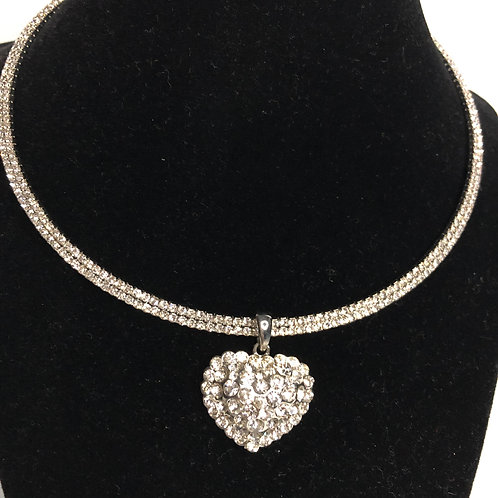 Silver Austrian crystal choker with unique heart shaped pendant
