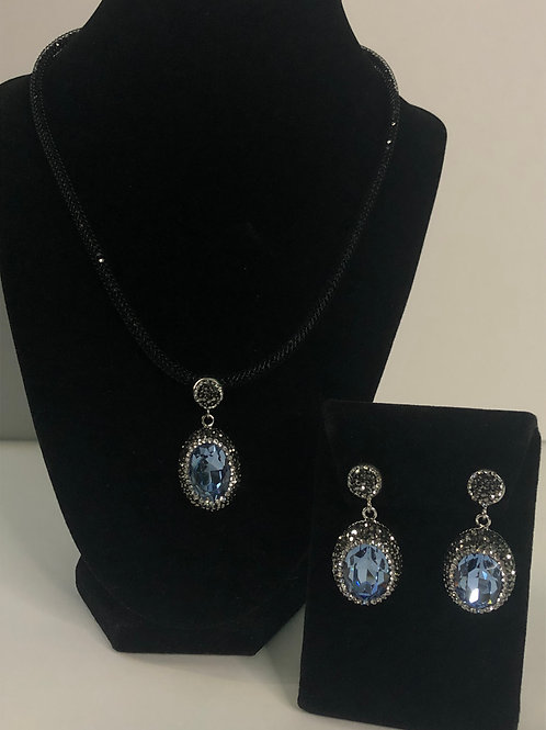 Black mesh necklace with oval shaped SET in Blue Gray