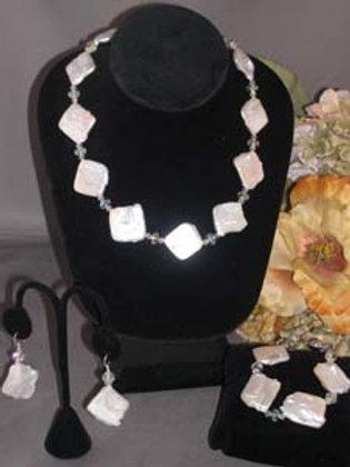 White Biwa pearl necklace 3 pc set with Swarovski crystals
