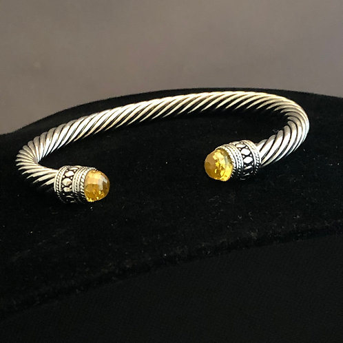 Designer look wide TWO TONE cable bracelet in cubic zircon