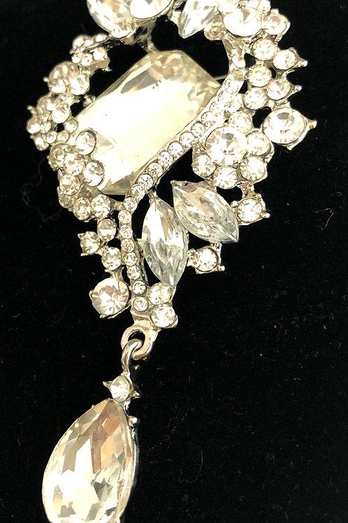Large silver tear drop crystal brooch