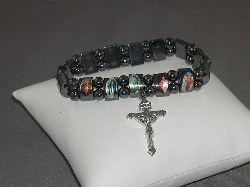 Hematite thin with cross religious elastic bracelet