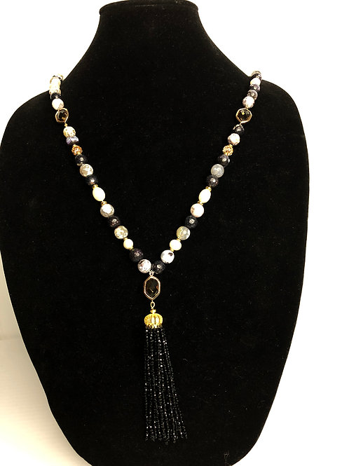 Natural stones with Freshwater Cultured pearl tassel necklace