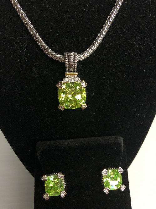 Designer look Spring Green pendant with & Lever Back Earrings