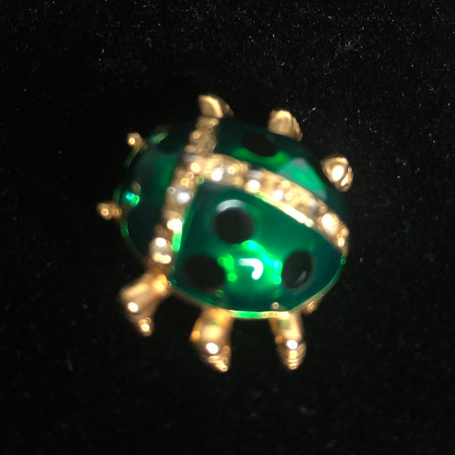 Small green lady bug brooch