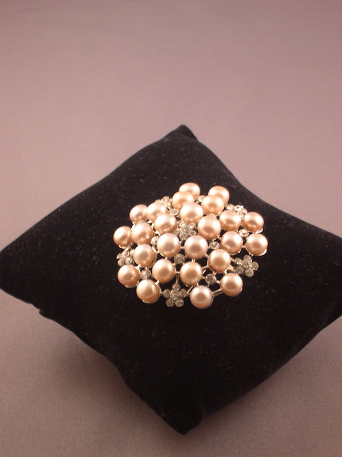 Flower encased crystals with pink Freshwater pearls brooch