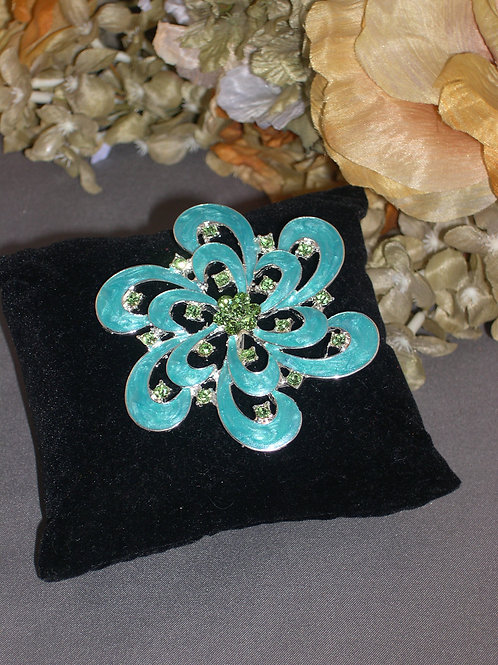 Turquoise flower brooch with spring green Austrian crystals