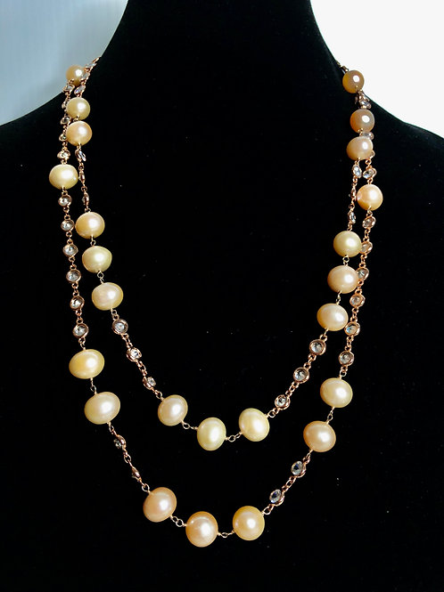 2 strand pink/peach Freshwater cultured pearl necklace