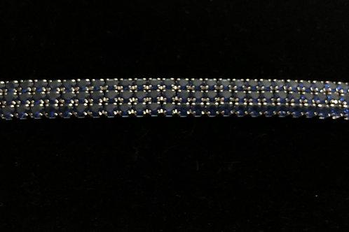 Genuine 3 row Sapphire gemstone set in sterling silver bracelet