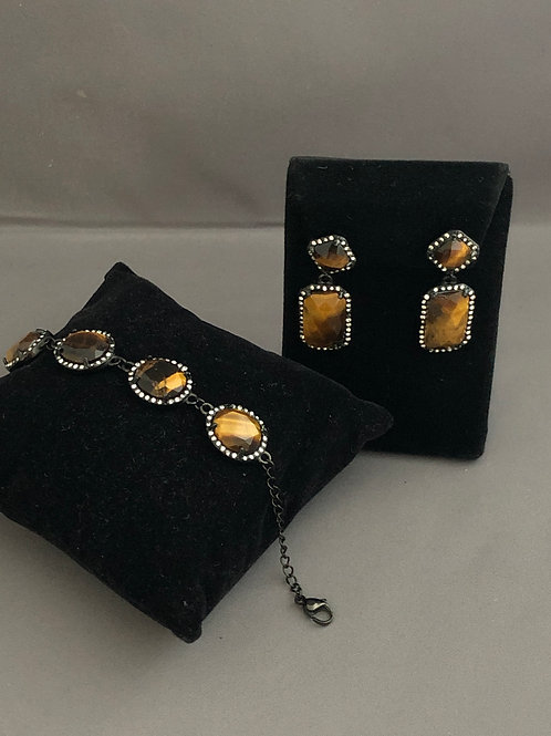 Tigers Eye bracelet and drop earrings to match