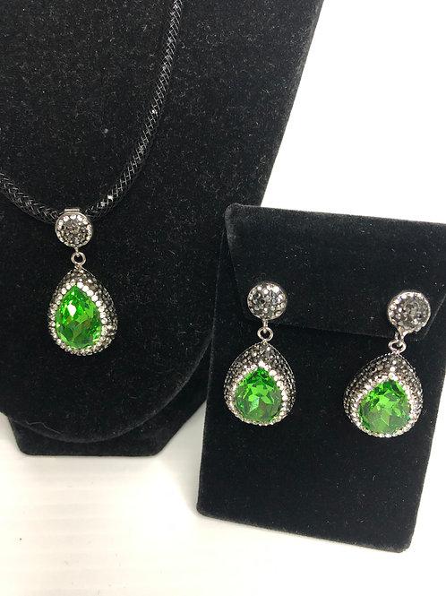 Tear drop Spring Green crystal on silver Pendant & Earrings