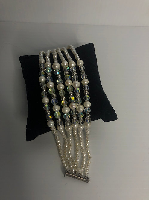 Multi strand bracelet with white FWP & Czech crystals in sterling