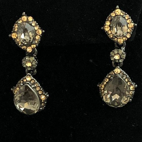 Grayish Austrian crystal with gold pierced earrings