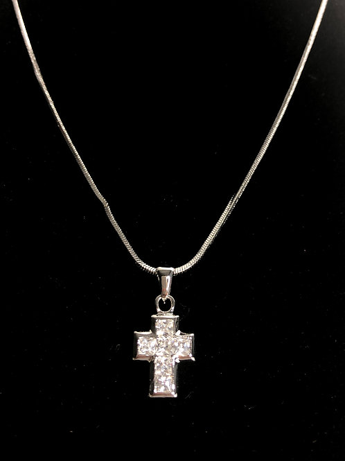 Small silver boxed Austrian Crystal cross pendant