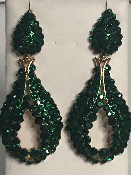 Emerald green crystal tear drop pierced earring