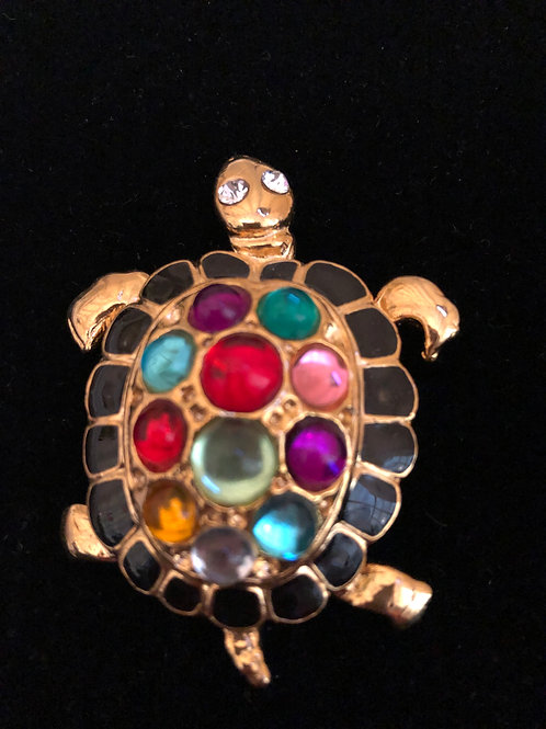 Gold multi colored  turtle brooch