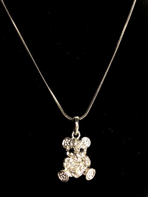 Teddy bear silver pendant